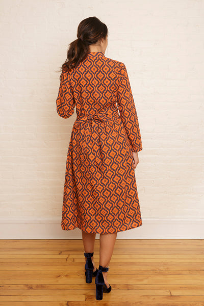 The Maryam Classic Fitted Dress in Autumn Maple Ikat