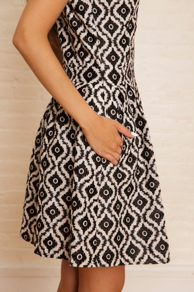 The Lilli Party Dress in Black & White Ikat