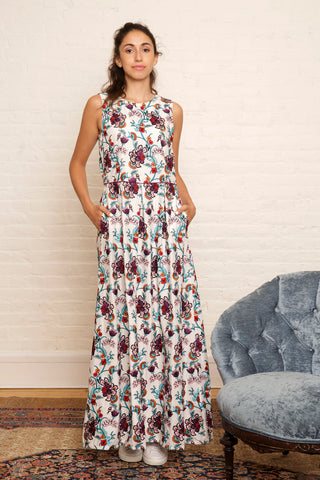 The Yasmine Dress in Enchanted Garden Embroidery - SAMPLE
