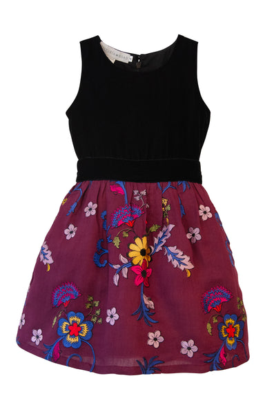 The Anna Twirly Dress | Velvet and Violet Zinnia Embroidered Net