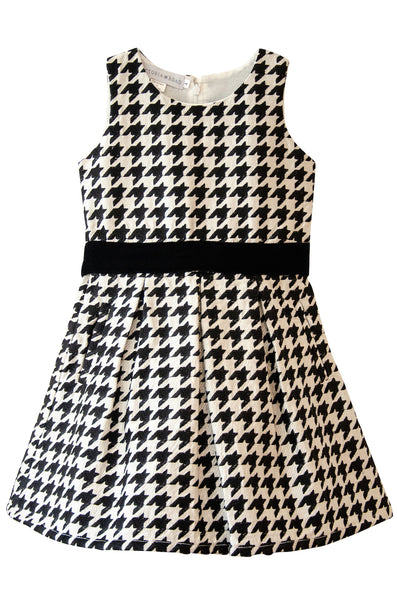 The Sonya Twirly Dress | Black & White Embroidered Houndstooth