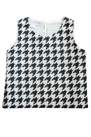 The Ophelia Top | Black & White Embroidered Houndstooth