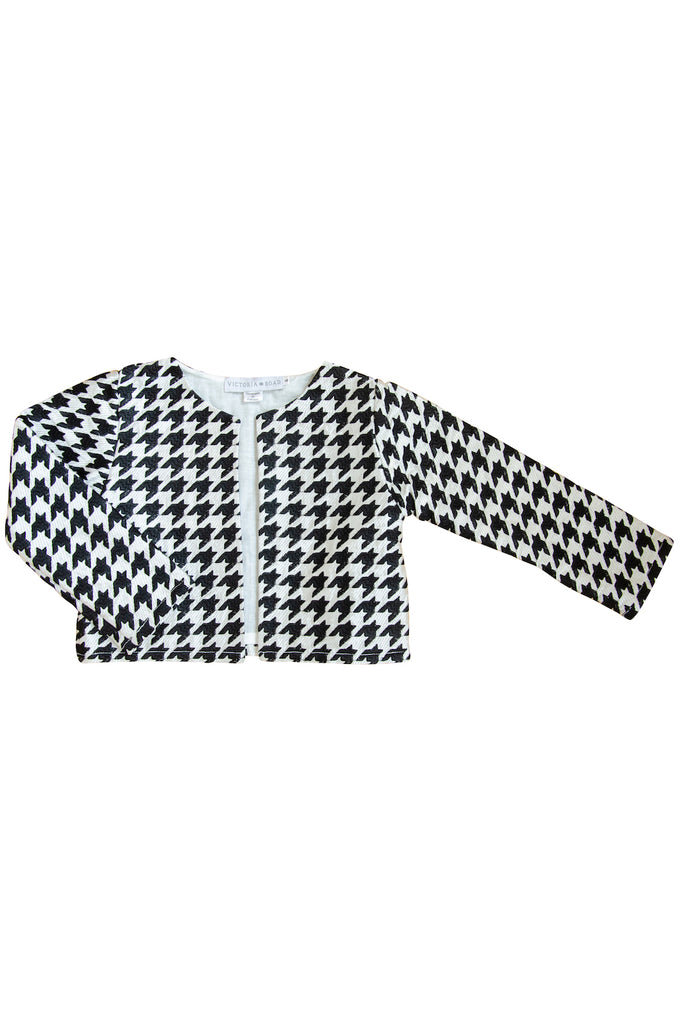 The Nasim Cropped Jacket | Black & White Embroidered Houndstooth