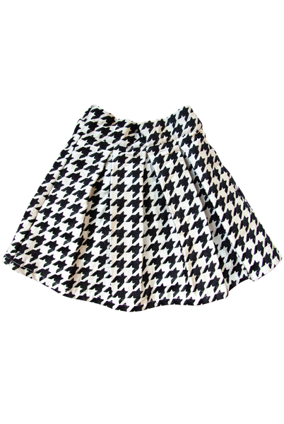 The Ella Skirt | Black & White Embroidered Houndstooth
