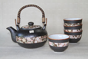 Japanese Hana Yuzen Tea Set with 4 cups