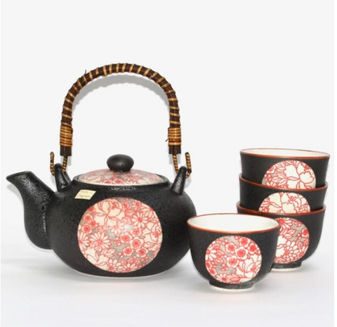 Japanese Shinshiki Red Tea Set with 4 cups