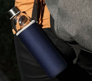 Heat Resistant Glass Bottle with Tea Infuser &  Navy Cover - 360ML