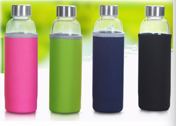 Heat Resistant Glass Bottle with Tea Infuser & Cover - 360ML