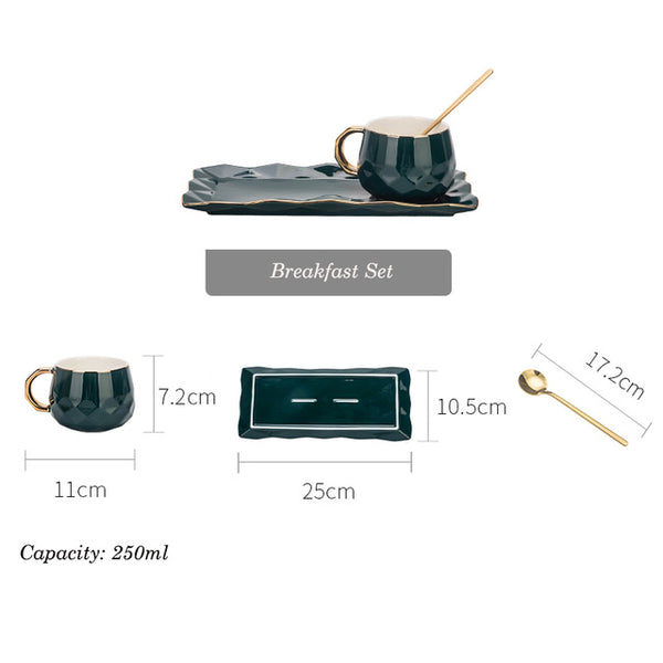 European Luxury  One person Coffee Cup Set  &  Breakfast Tea Plate Set