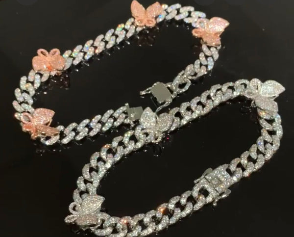 Cuban link Butterfly Anklets