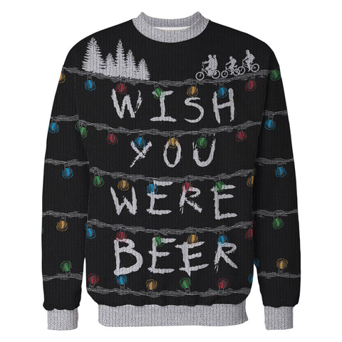 Wish You Were Beer Stranger Lights Ugly Sweater