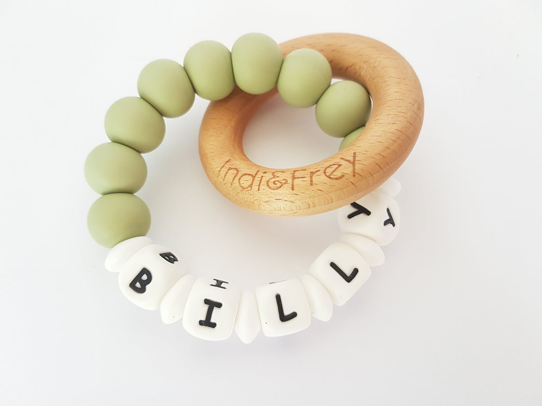 Personalised Teething Ring Indi Amp Frey