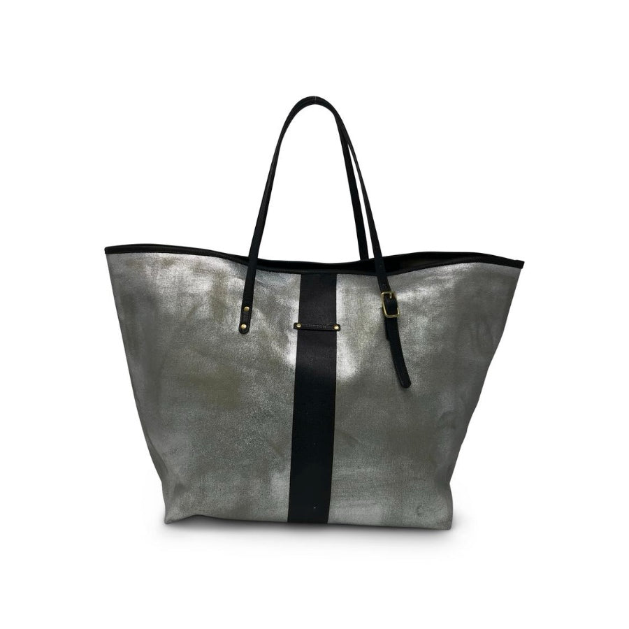 METALLIC CANVAS BLACK STRIPED BEACH TOTE
