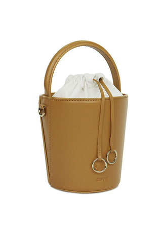 LEATHER MUSTARD MINI BASKET BUCKET