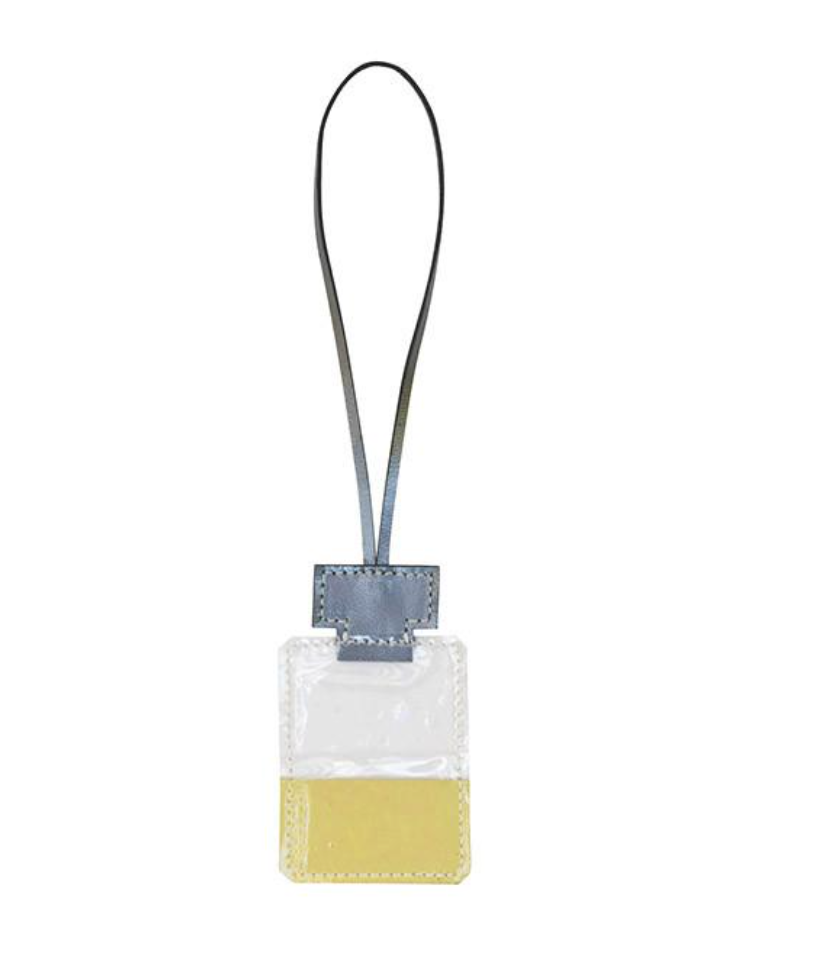 PERFUME BOTTLE LEATHER CHARM, CLEAR
