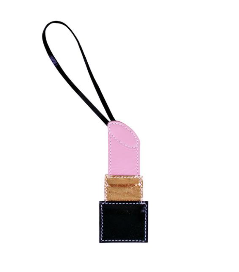 LIPSTICK LEATHER CHARM, PINK