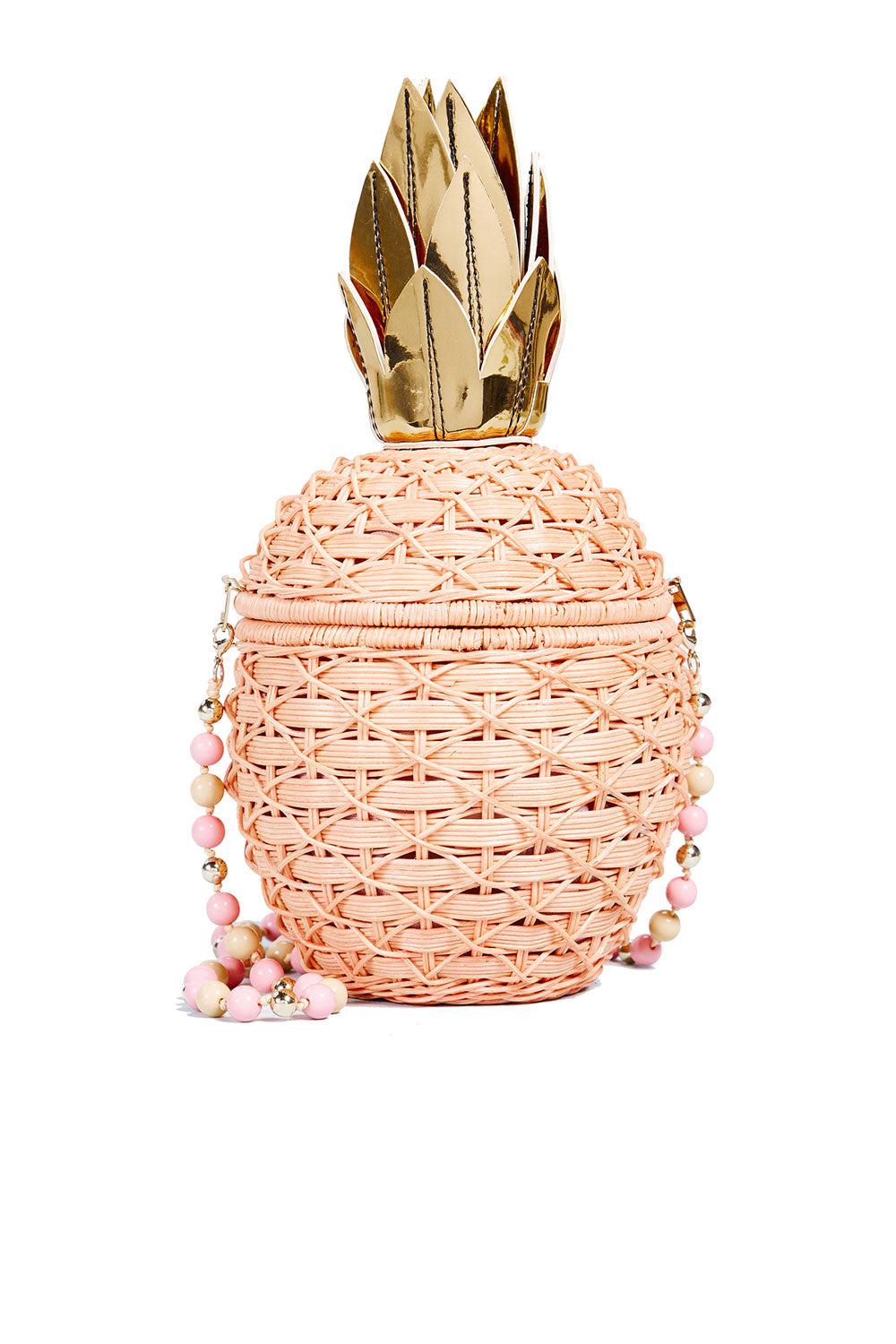 PINEAPPLE PEACH WICKER CLUTCH