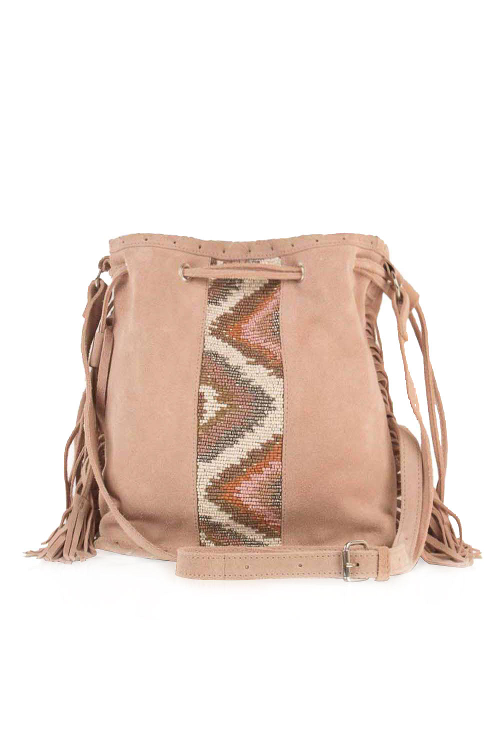 TUSA SUEDE BEADED FRINGE SATCHEL