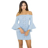 Off Shoulder Denim Bodycon Dress