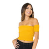 Shearing Detail Mustard Bardot Crop Top