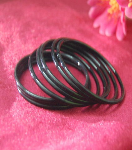 Black glass bangles