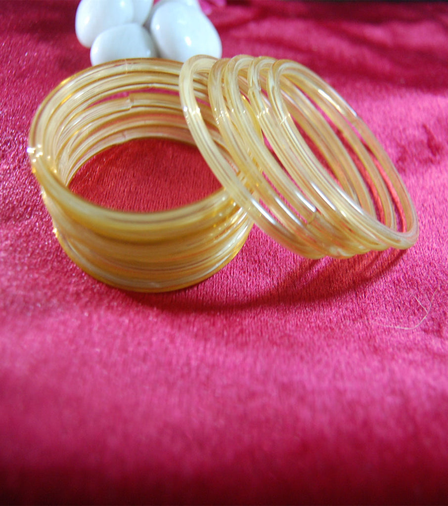 Golden glass bangles set of 24