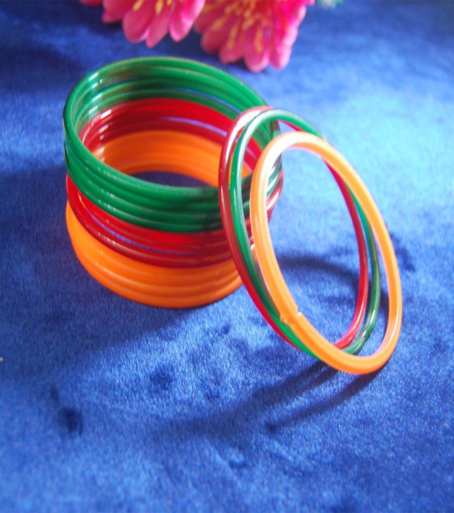 Plain glass bangles Red Green Yellow combo set of 36