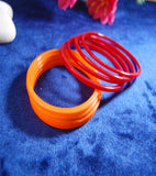 Plain glass bangles Orange Red combo set of 12