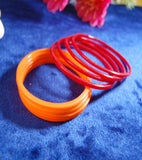 Plain glass bangles Orange Red combo set of 24