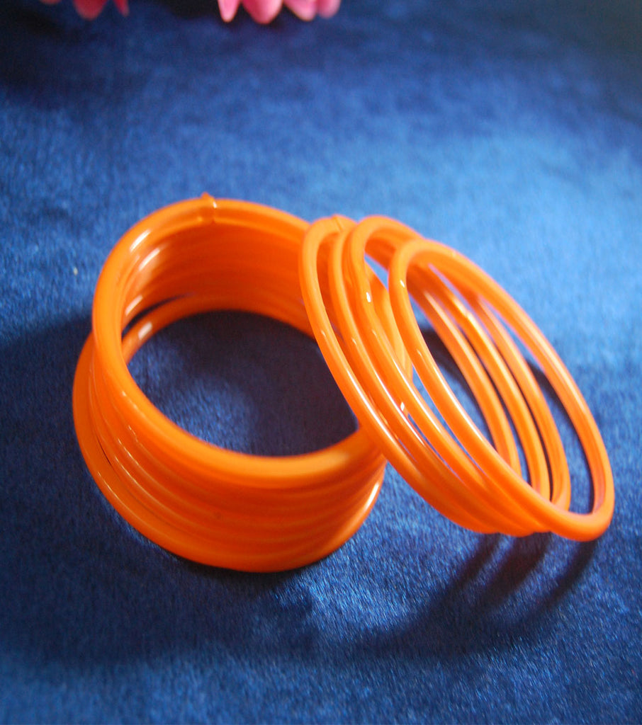 Orange glass bangles