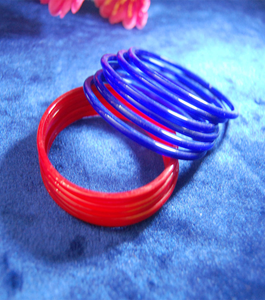 Plain glass bangles blue Red combo set of 24