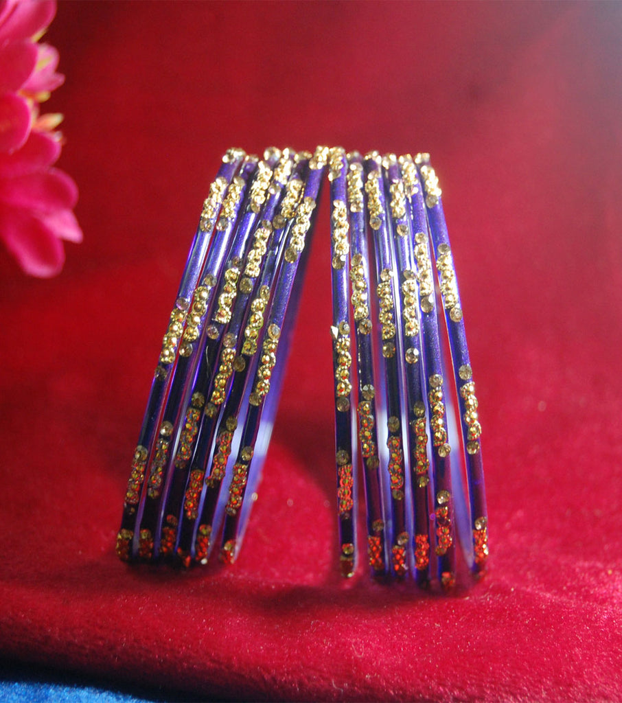 Dark blue glass bangles with full work set for women's