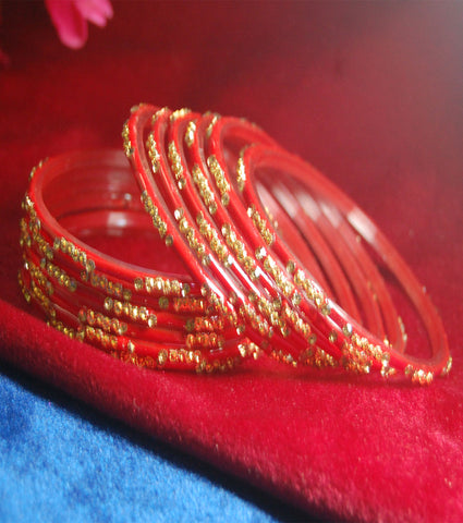 Red glass bangles with full work set