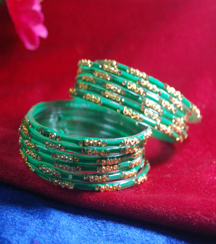 Green glass bangles with full work set