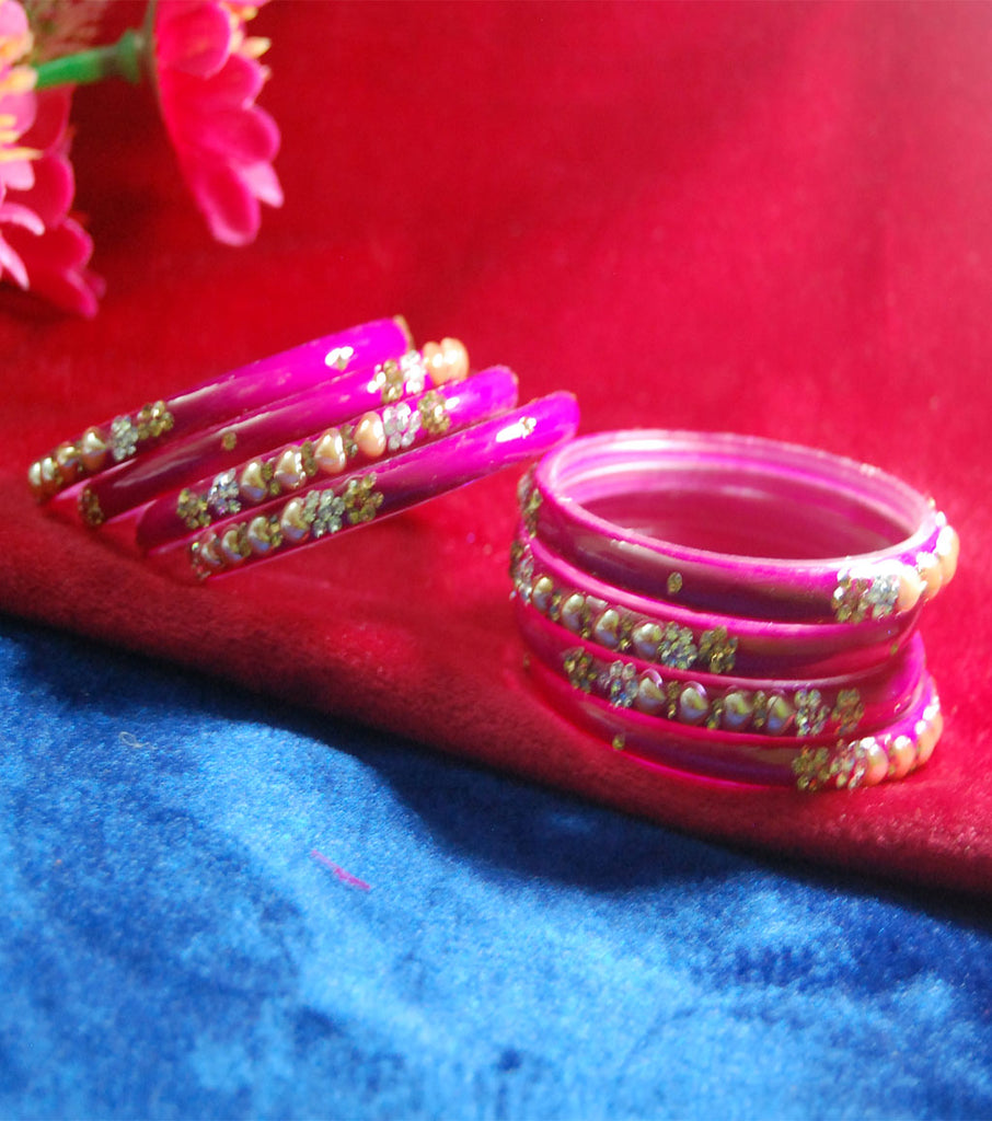 Fancy Pink coloured broad glass bangles with beautiful work