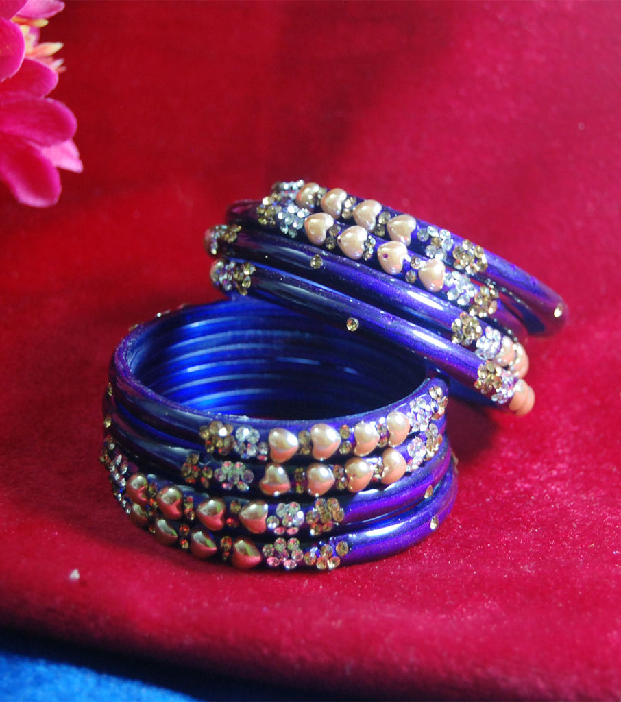 Fancy blue coloured broad glass bangles