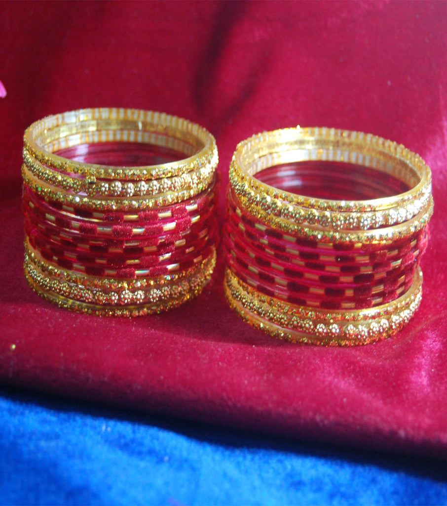 Maroon with sparkling golden side bangles