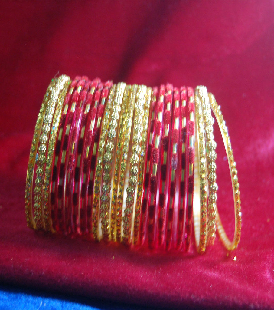 Red with sparkling golden side bangles