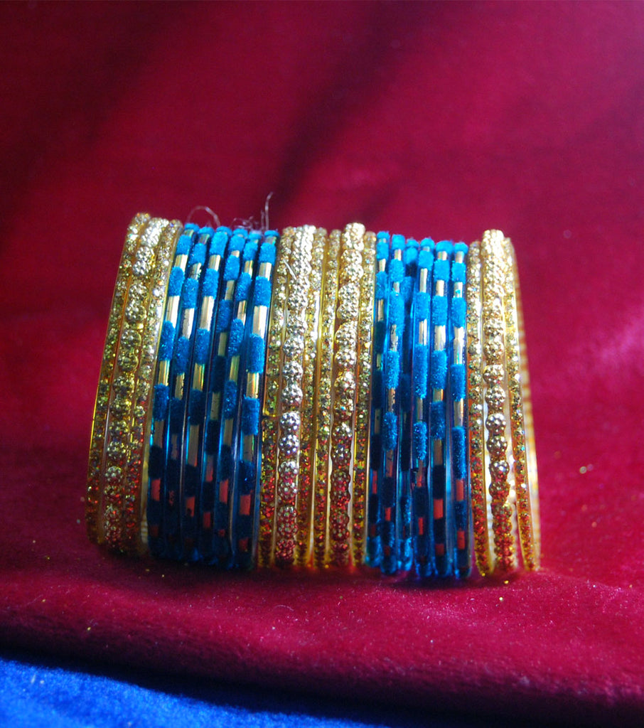 Ferozi with sparkling golden side bangles