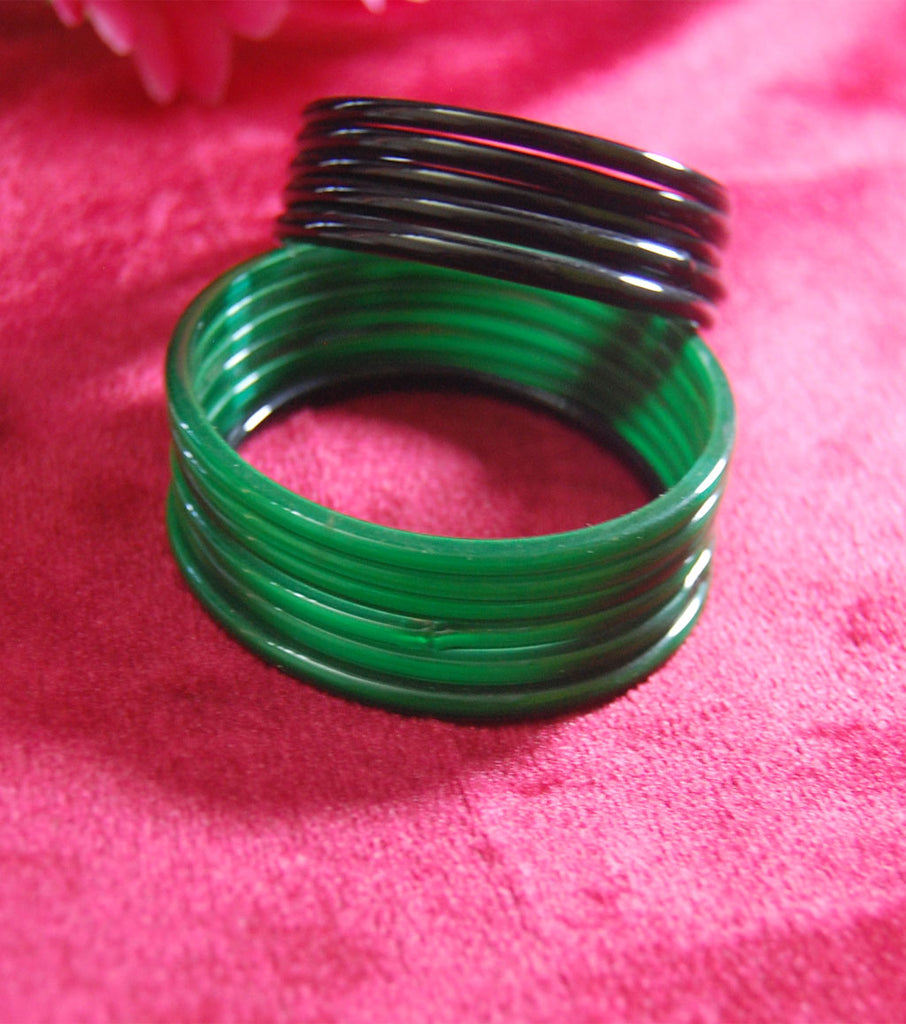 Plain glass bangles Black Green combo set of 24