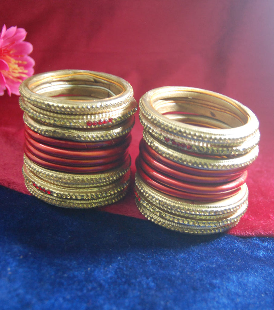 Red and golden coloured lac bangle having kangan with full work