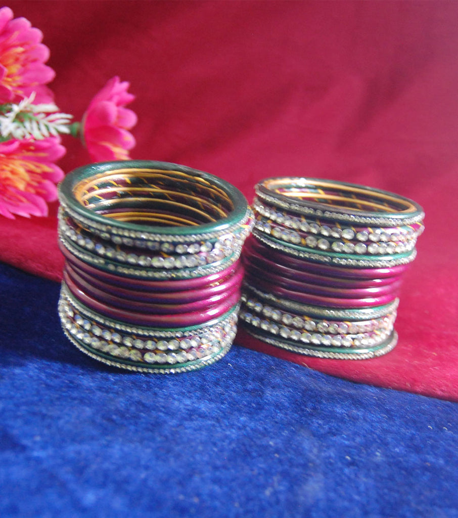 Maroon and green coloured lac bangle studded with stone