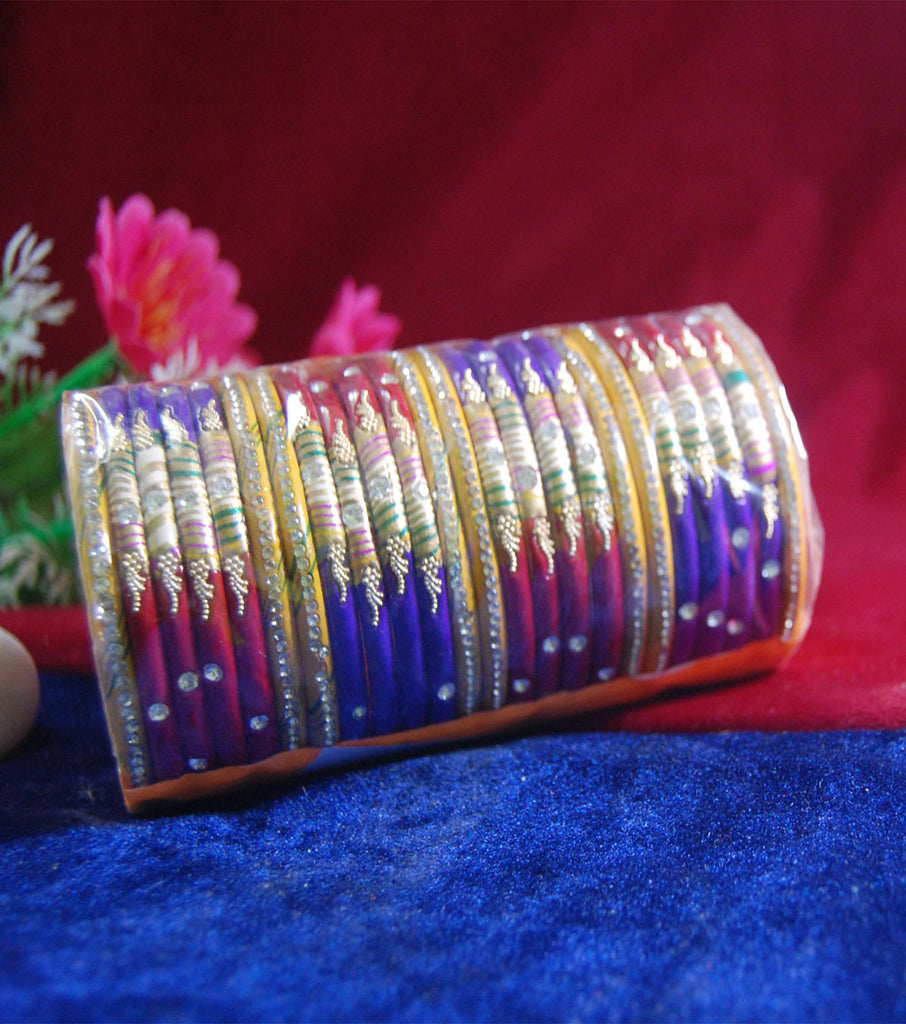 Multi coloured lac bangle with stones and work