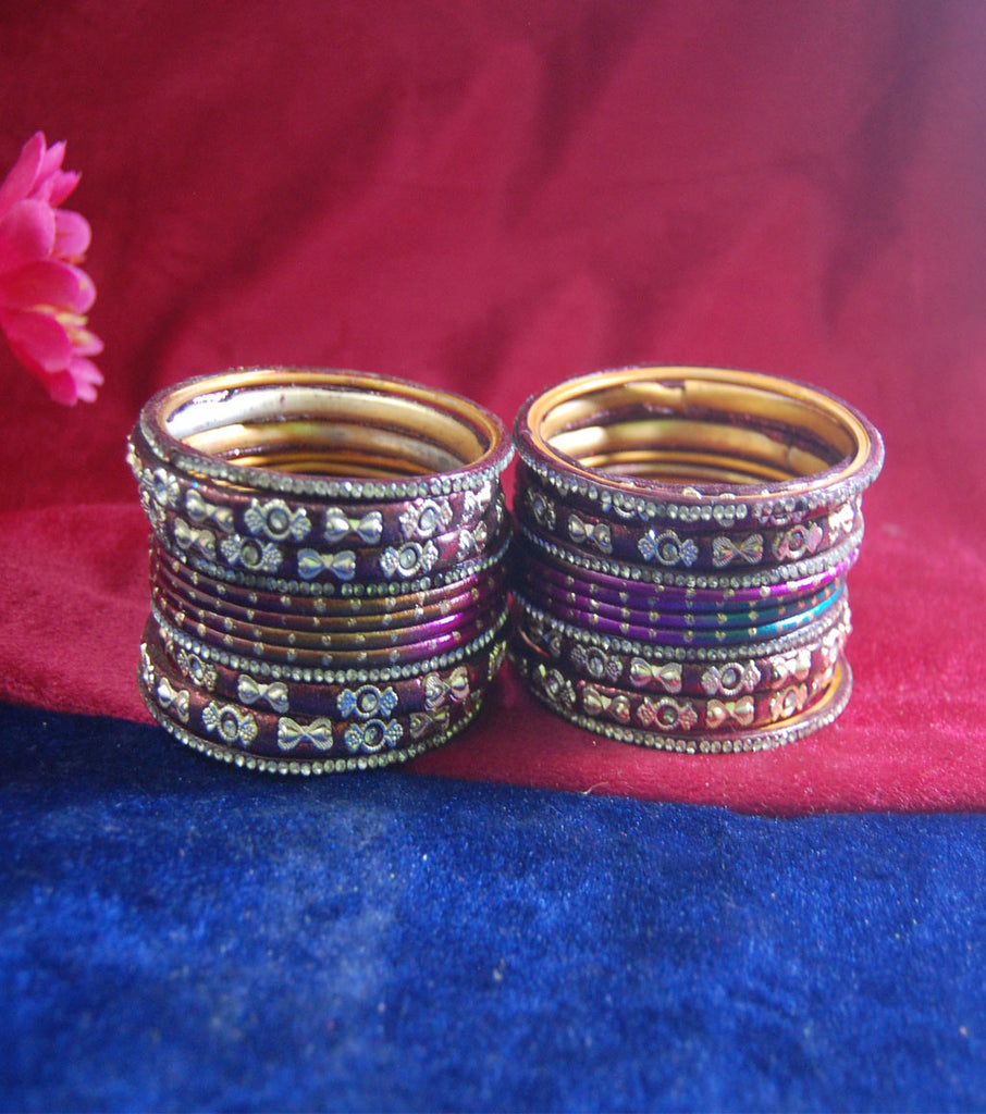 Coffee colored lac bangle with pink and purple tinge