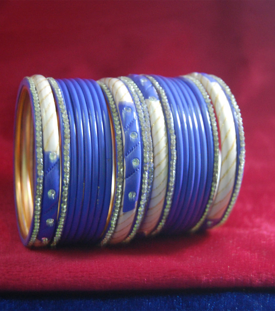 Purple coloured lac bangle with stones