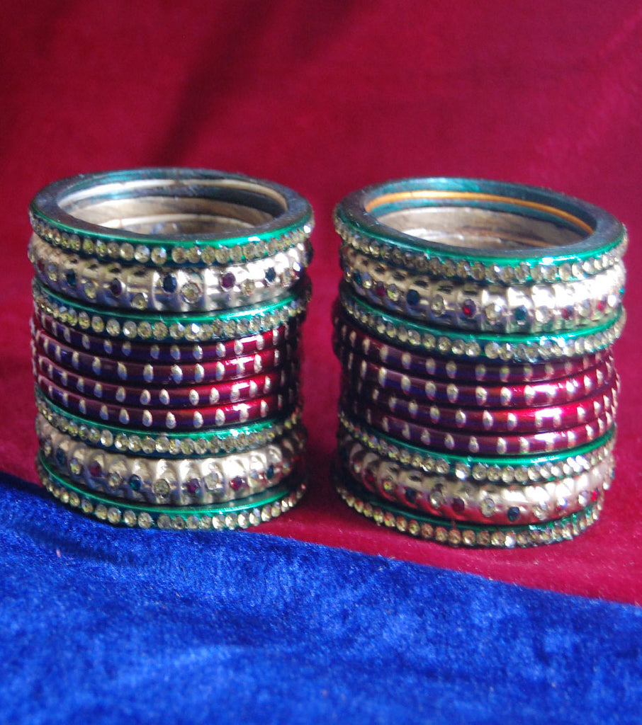 Red coloured lac bangle with colourful stone full set