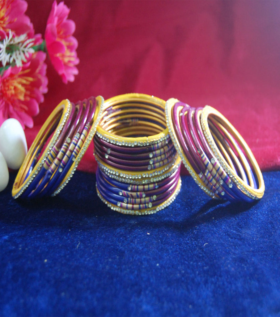 Multicoloured lac bangle with design