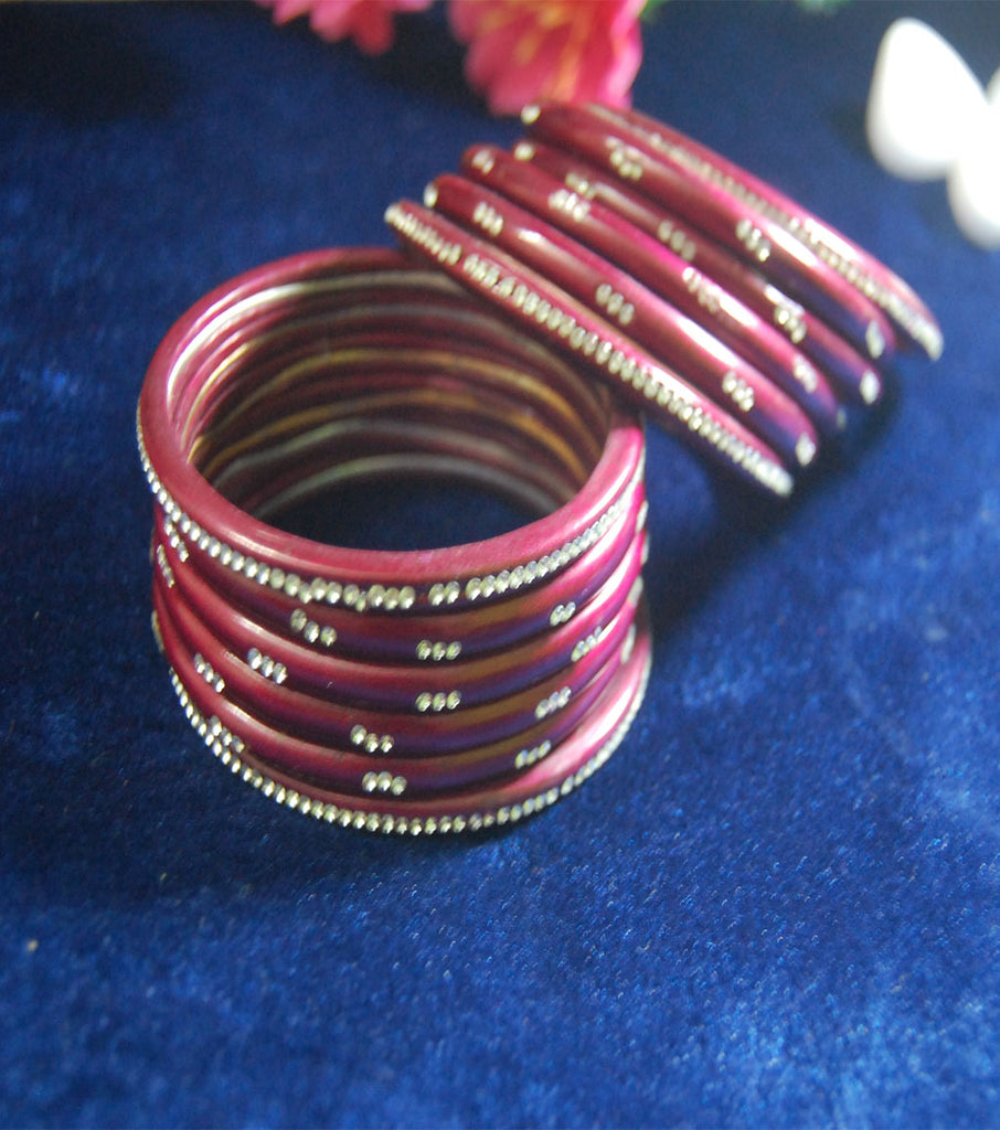 Maroon coloured lac bangle with stones