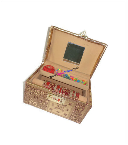 Golden embroidered jewelery cum bangle box