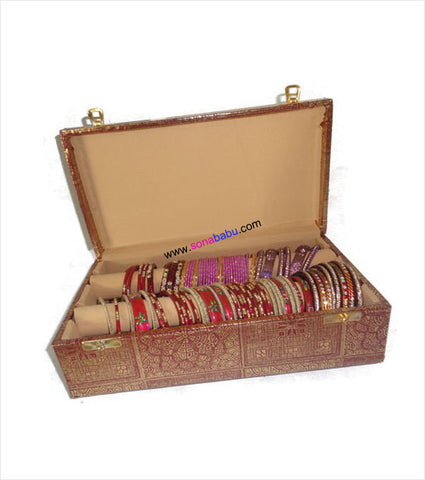 Beautiful golden embroided two lane bangle box